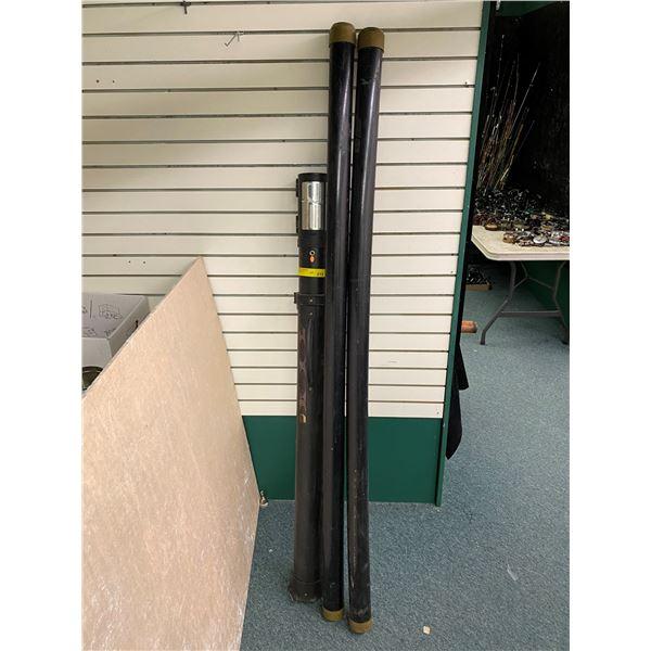 Two 6ft Cabela's black rod storage tubes and one Plano phantom telescopic adjustable rod storage tub