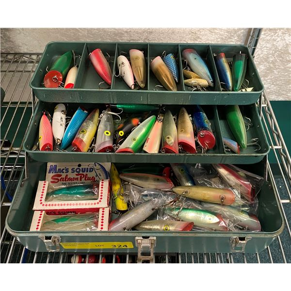 Vintage metal green tackle box filled w/ assorted salmon plugs