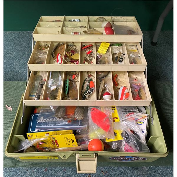Canron tackle box & contents (mostly fresh water tackle)