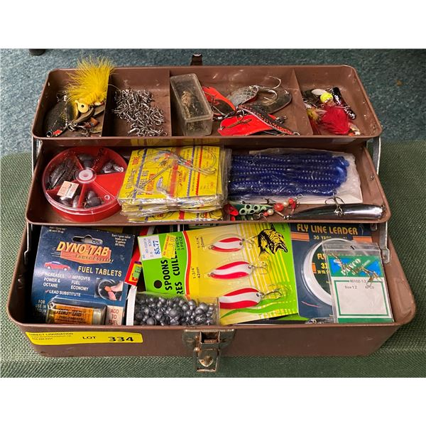 Vintage brown metal tackle box & contents (mostly fresh water tackle)