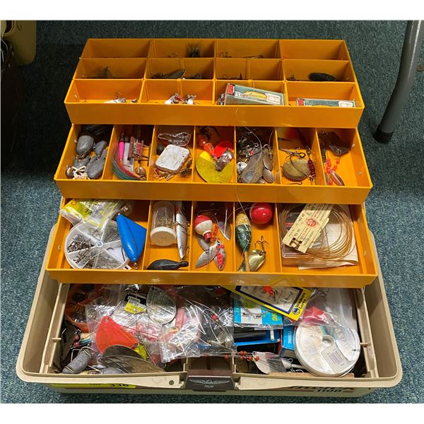 Fenwick 1100 tackle box & contents (mostly fresh water tackle)