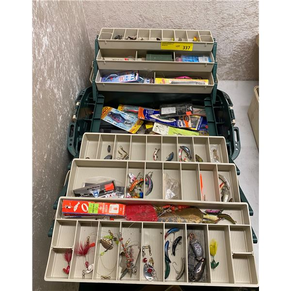 Plano tackle box & contents (mix of fresh water & ocean tackle)