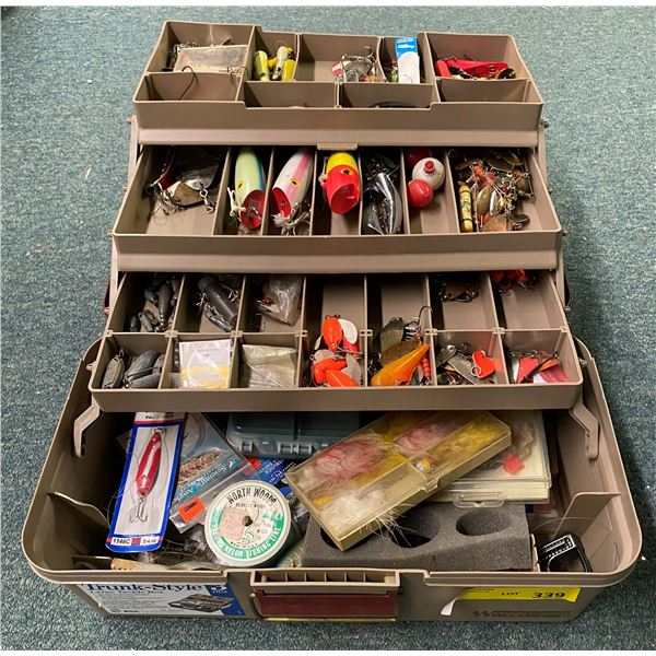 Woodstream tackle box & contents (mostly fresh water tackle)