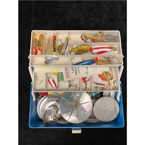 Vintage Plano tackle box & contents (mostly fresh water tackle)
