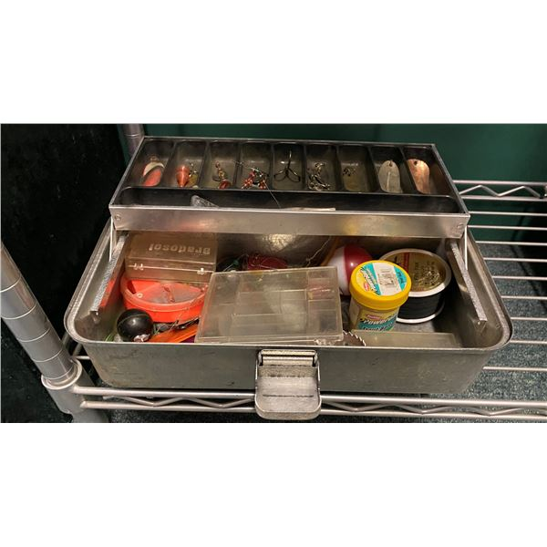 1950s/60s UMCO aluminium tackle box & contents (mostly fresh water tackle)