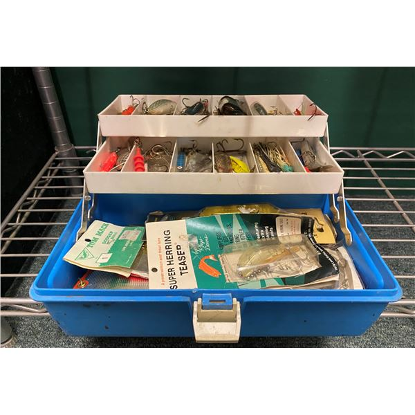 Blue tackle box & contents (mix of fresh water & ocean tackle)