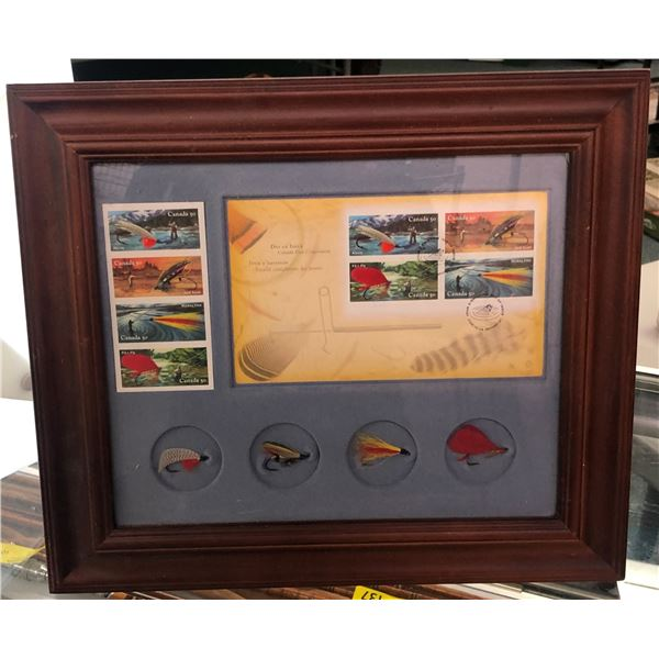 Framed fly fishermans display - day of issue Canadian fly stamps & four beautifully tied flies