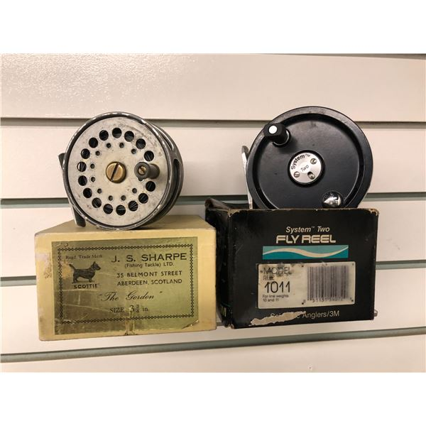 Two vintage fly reels - J.S.Sharp  The Golden  size 3 3/4  & system 2 model 1011 w/ boxes