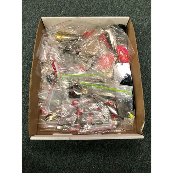 One box of assorted freshwater fishing tackle - gangtrolls, spoons, willow leaves etc.
