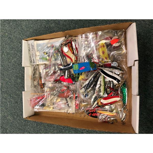 One box full of fresh water fishing tackle - spoons, gangtrolls etc.