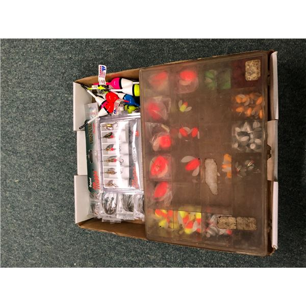 One box of assorted fresh water tackle - spinning glows, mepps etc.