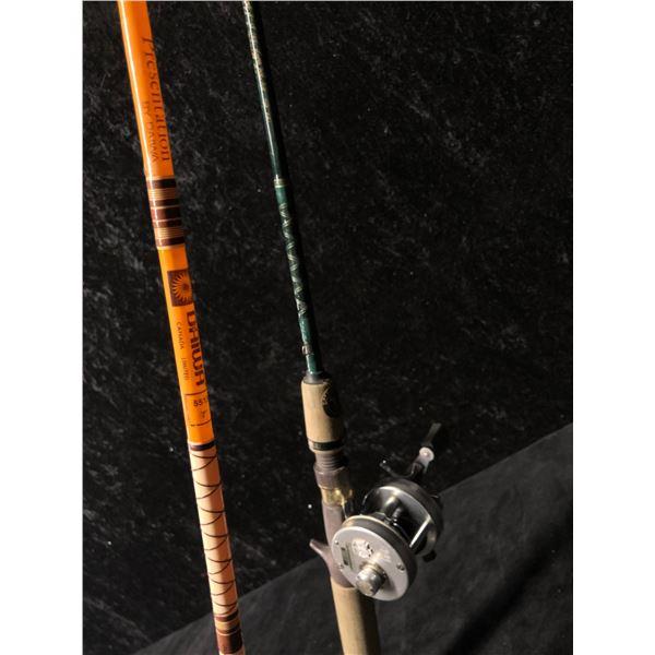 Two casting rods - Eagle Claw w/ ABU Garcia ambassadeur 1500C reel & Daiwa w/ ABU Garcia max 1600 re