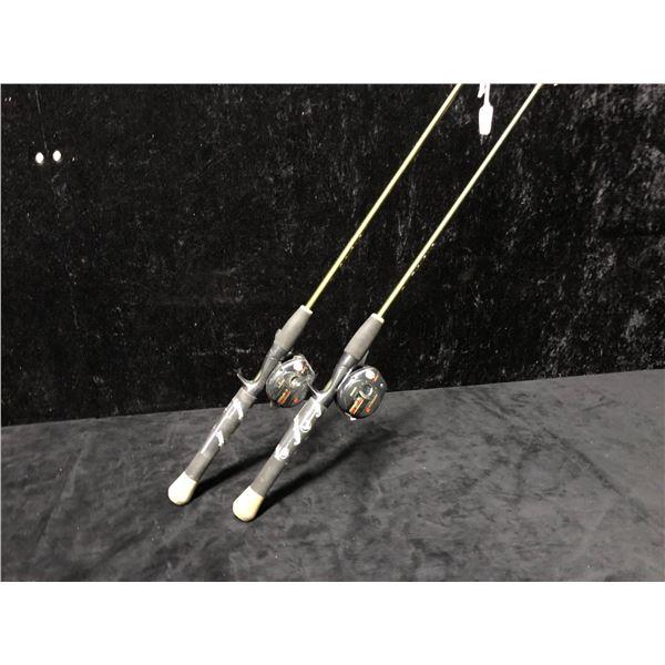 Two Zebco gatorback casting rods w/ ABU Garcia XLT reels