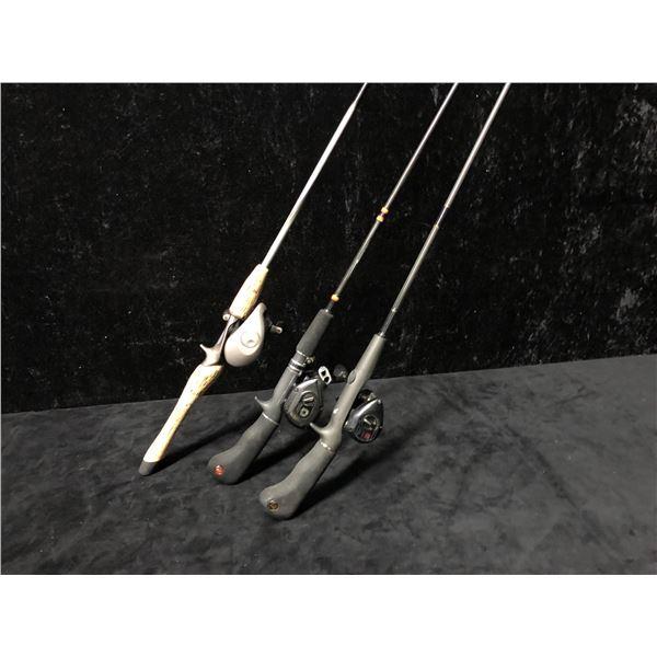 Three casting rods - 1 pc. Team Daiwa rod & reel/ 1 pc. Berkley w/ Daiwa reel/ 1pc. Berkley w/ Ryobi
