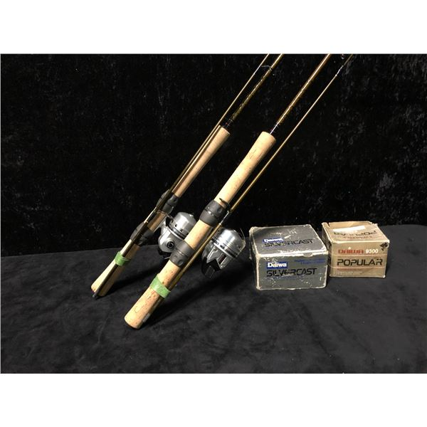 Two Daiwa casting rod & reel combos (reels have original boxes)