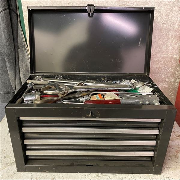 Grey four drawer tool cabinet w/ assorted tools