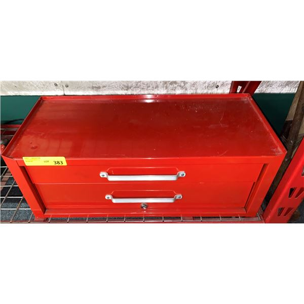 Red two drawer tool cabinet w/ assorted tools