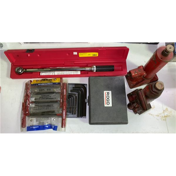 Group of assorted tools - Armstrong torque wrench/ ridged flaring tool/ two hydraulic bottle jacks/