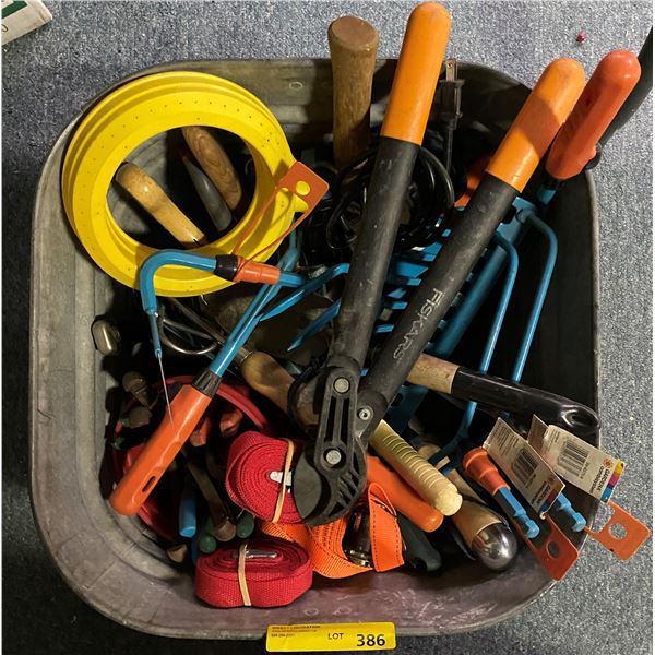 Galvanized tub full of assorted small garden tools