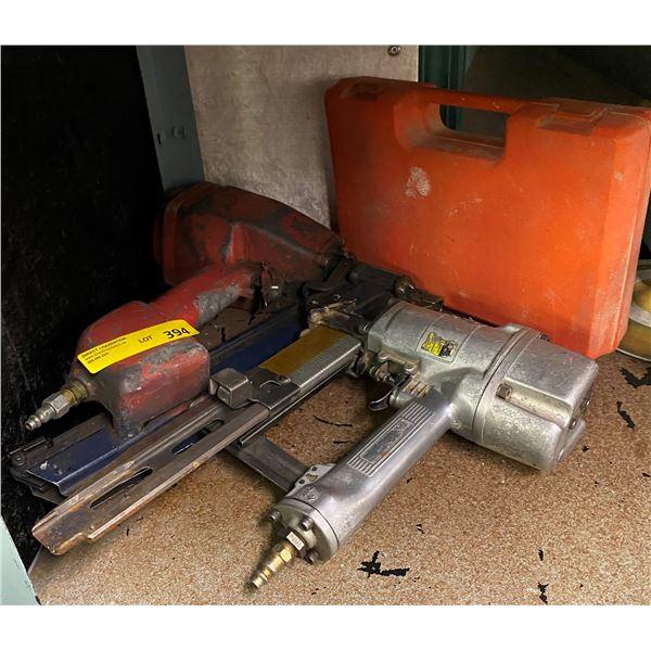 Group of three pneumatic tools - nail gun & two staple guns