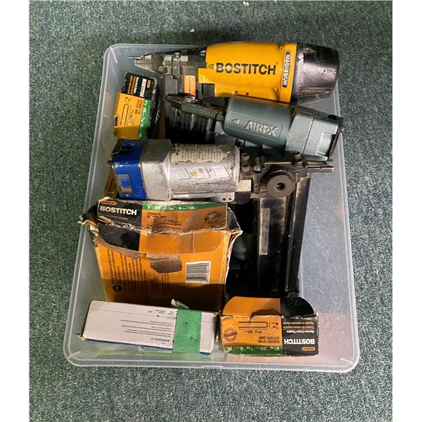 Box of three pneumatic air staplers & assorted staples