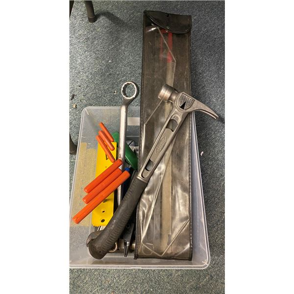Box of assorted hand tools including a Stiletto framers hammer