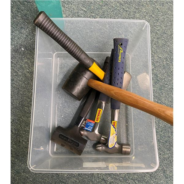 Box of five new assorted hammers - Estwing/ Mastercraft etc.