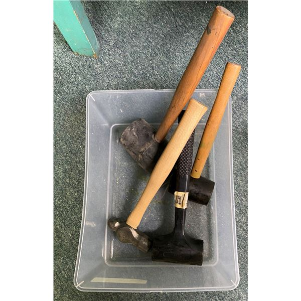 Box of four new assorted hammers - Ballping/ Rubbermallet/ Powerfist etc.