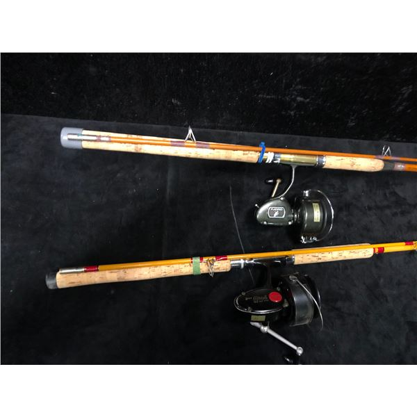 Two heavy duty spinning rods w/ reels