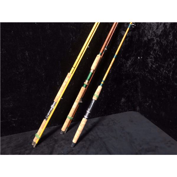 """Three assorted spinning rods - Wright & McGill """"North West Special""""/ Wright & McGill """"Powerlite""""/ Tr"""