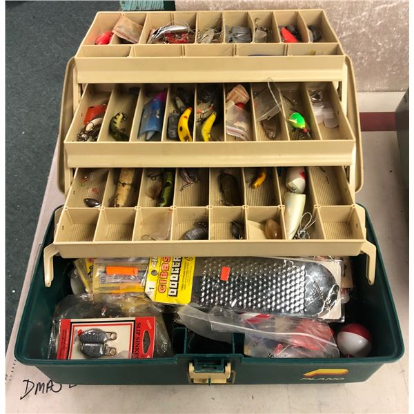 Plano tackle box & contents (mostly fresh water tackle)