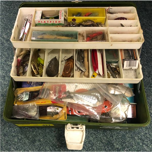 Old Pal tackle box & contents (mostly fresh water tackle)