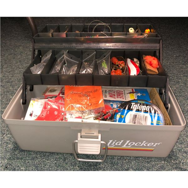 Lid Locker tackle box & contents (mostly fresh water tackle)