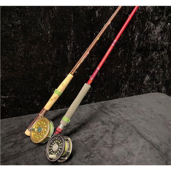 Two fly rods - Garcia w/ Shakespeare 2532 reel & Red rod w/ Martin reel
