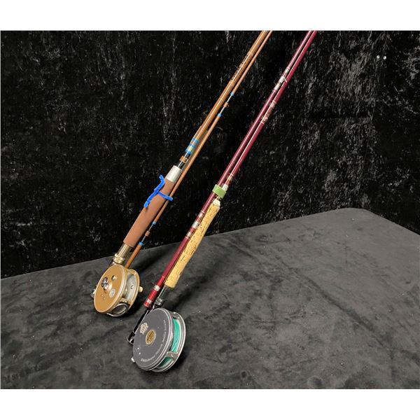 Two fly rods - Ted Peck pro-series w/ Ocean City reel & Berkley cherrywood w/ Ryobi 355 reel