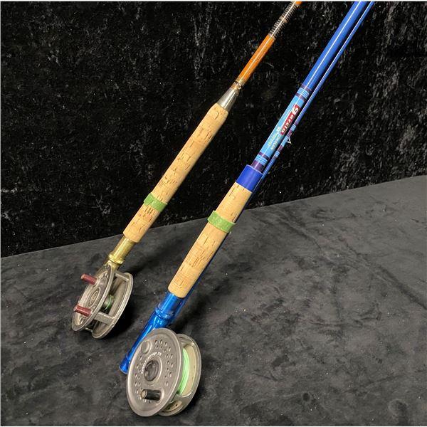 Two fly rods - Dyna-Glass w/ intrepid reel & Garcia w/ BFR England reel