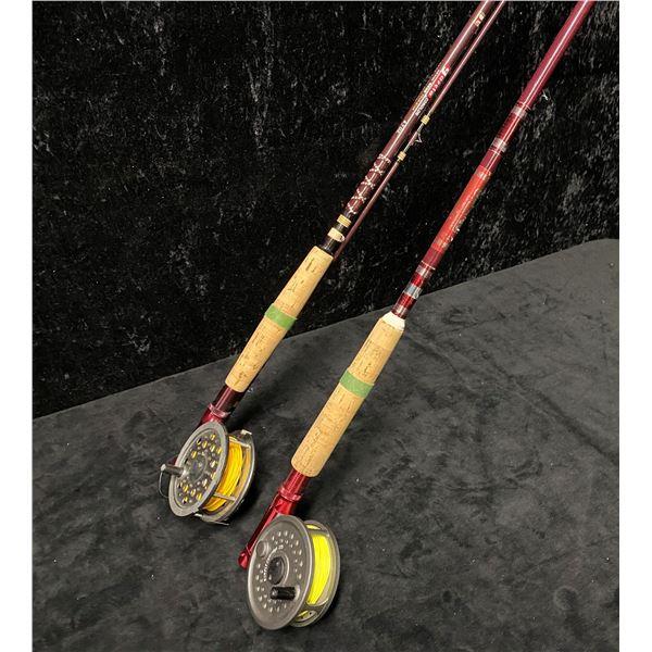Two fly rods - Garcia w/ J.W. Young & Sons 1530 reel & Berkley cherrywood w/ BFR England reel
