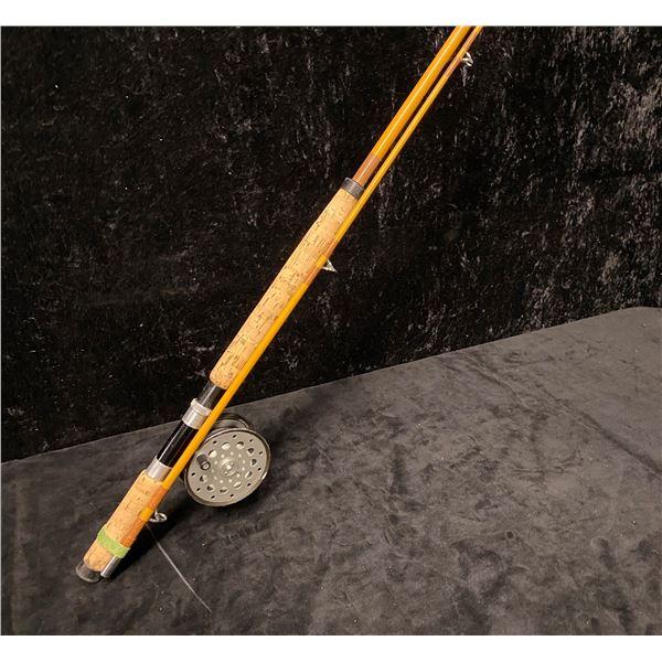 "Sea King salmon fly rod w/ Farlow's London ""Python"" 4"" W reel (identification numbers lightly engrav"
