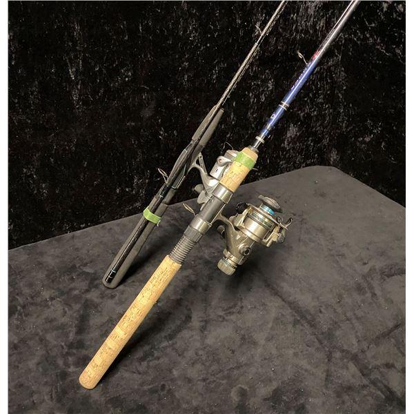 Two medium action spinning rods - Daiwa power mesh w/ schimano 2000 reel & Daiwa shock w/ Daiwa EL13