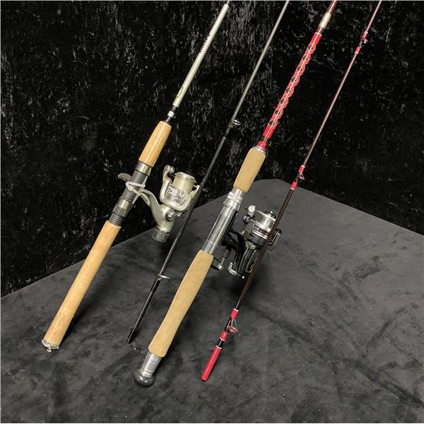 Two medium action spinning rods - Complete Angler w/ Ryobi 1000 reel & Mitchell AVOCET II w/ matchin