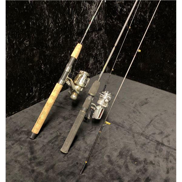 Two spinning rods - Shakespeare rod w/ Shakespeare reel & Berkley rod w/ Dam reel
