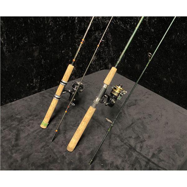 Two light action spinning rods - Berkley lightning w/ Mitchell 204S reel & Schimano w/ Ryobi reel