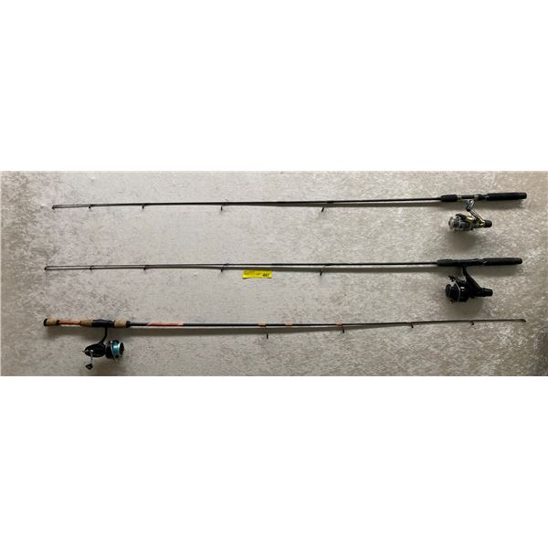 Group of 3 assorted spinning rod & reel combos
