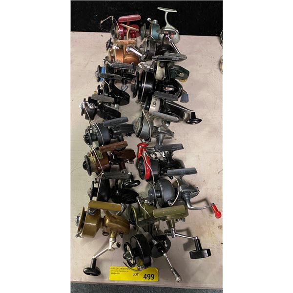Group of 20 vintage assorted spinning reels