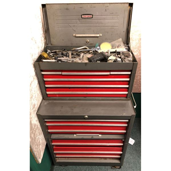 Craftsman 2 pc. rolling tool cabinet full of assorted tools