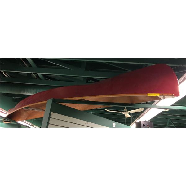 Approx. 15ft red canoe (seats have been removed) from the love show