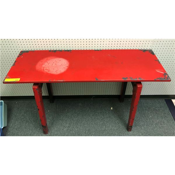 Red prop work table from the love show approx. 47in x 16in