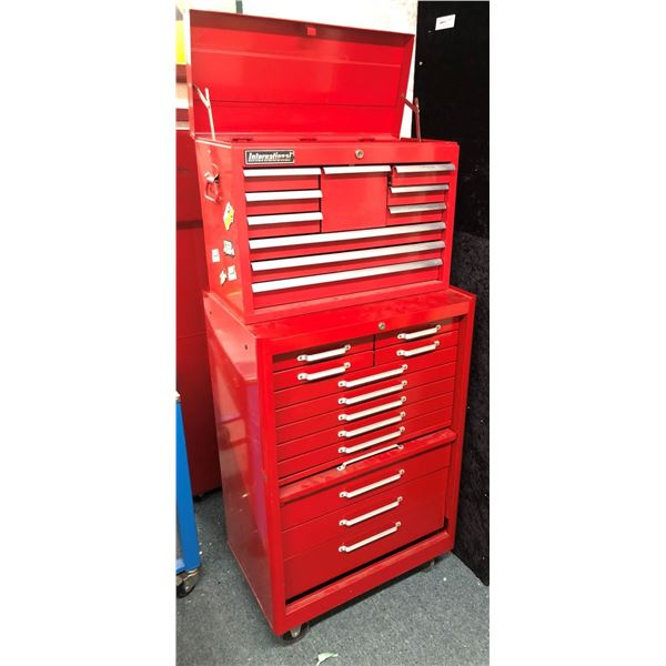 International 2 pc. rolling 22 drawer tool cabinet (w/ keys)