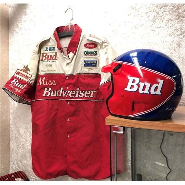 """Miss Budweiser Bud Racing 1995 """"John"""" world champion jacket & Budweiser helmet - 2 pc set"""
