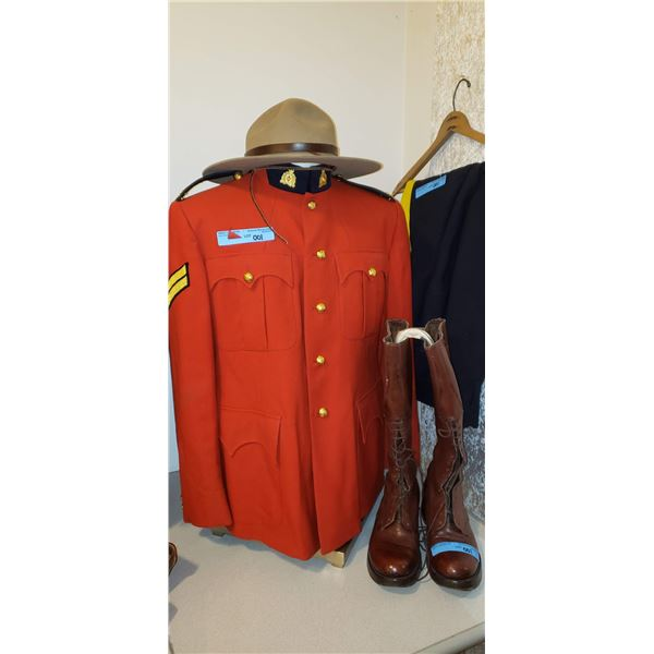 RCMP 30 year Veteran complete Stetson, boots, riding breeches, jacket